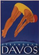 Vintage Swiss poster - Davos lakeside beach (1933)